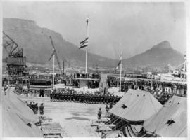Cape Town, 18 September 1945. Opening ceremony of Sturrock dock in Table Bay Harbour.. Flag hoist...