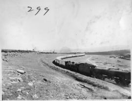 Eastern Cape, March 1947. Royal Train being drawn by SAR Class in barren open veld.