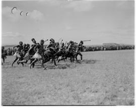 Eshowe, 19 March 1947. Traditional Zulu dancing for the Royal family.