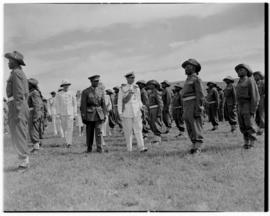 Lobatsi, Bechuanaland, 17 April 1947. King George VI inspecting troops.