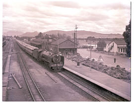 """Wellington, 1952. SAR Class 15F with Blue Train in station."""