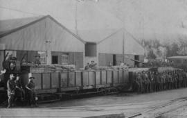 Bloemfontein, 1914. War train with soldiers at station.