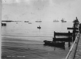 Cape Town. Table Bay Harbour with jetty showing partly in foreground. (JW&Co)