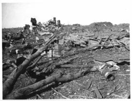 Leeudoringstad, 17 July 1932. Remains of 30 trucks after dynamite accident.