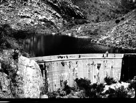 Caledon, 1928. Dam with curved concrete wall.