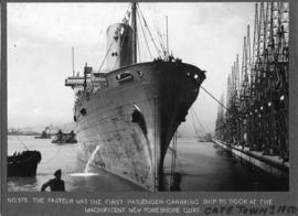 "Cape Town, 1950. The ""Pasteur"" the first passenger-carrying ship to dock at the new for..."