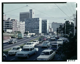 Johannesburg 1966. View of Braamfontein with Jan Smuts Drive in foreground. [King]