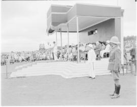 Swaziland, 25 March 1947. King George VI addressing the crowd in Swaziland.