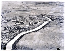 Colenso, 1949. Aerial view of town, power station and Tugela river.