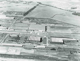 Bloemfontein, 1957. Aerial view of railway workshops.