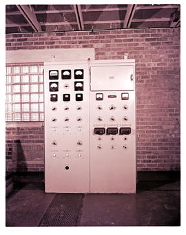 Cape Town, 1962. Electrical distribution box for lighthouse in engine room.