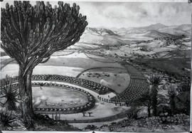 Vryheid district, 1838. Dingaan's kraal. (Artistic reconstruction)