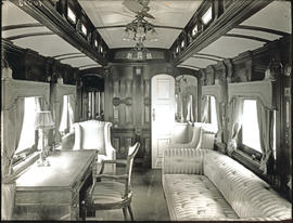 Interior showing lounge of SAR saloon coach No 1 for the Duke of Connaught Royal Tour. See SARM ...