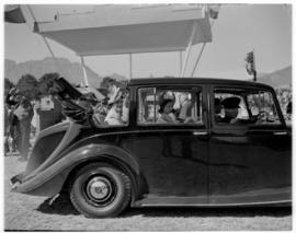 Stellenbosch, 20 February 1947. Royal family arriving at dais at Coetzenburg.