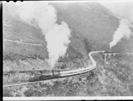 George district, 24 February 1947.  Royal Train with SAR Class GEA Garratt No 4024 (leading) and ...