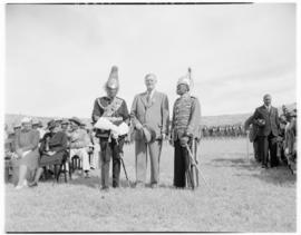 Lobatsi, Bechuanaland, 17 April 1947. Chief Tshekedi, Regent of the Bamangwato tribe, and Chief B...
