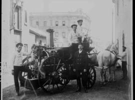Cape Town. Horse-drawn fire engine with staff.