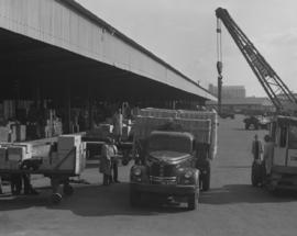 Pretoria, 1963. Heavily loaded SAR truck at goods shed.