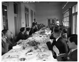 Vaal Dam, circa 1948. Group of about 35 men on tour. Luncheon with Minister Sturrock.