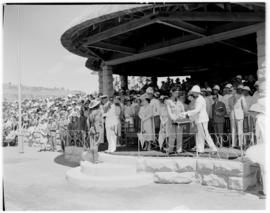 Maseru, Basutoland, 12 March 1947. King George VI presenting awards to chieftains and men who ser...