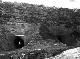De Doorns, 1929. Old and new tunnel at Triangle in Hex River pass.