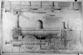 Drawing of locomotive for the Cape Town Railway and Dock Company.