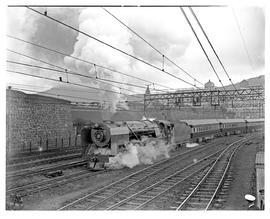 """Cape Town, 1949. SAR Class 15F No 3134 with Blue Train leaving for Johannesburg for Johanne..."