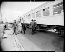 Cape Town, 1947. Prime Minister JC Smuts with inspection party beside SAR staff dining saloon No ...