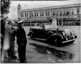 Grahamstown, 28 February 1947.  Royal family in open Daimler driving through the city.