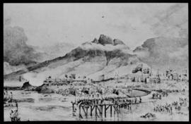 Cape Town, 17 September 1860. Tipping the first truck of stone for the breakwater of Table Bay Ha...