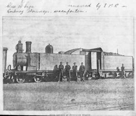 Bloemfontein, circa 1901. First pattern of armoured engine. (Publication on armoured trains in th...