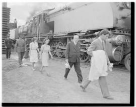 Swellendam, 22 February 1947. FC Sturrock leading Princesses Margaret and Elizabeth past Class GE...
