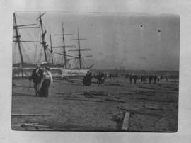 Port Elizabeth, 30 August and 1 September 1902. Aftermath of a storm in Algoa Bay with debris and...