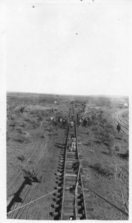 August 1914 to July 1915. Construction of the Prieska - Karasburg railway line. Forward view from...