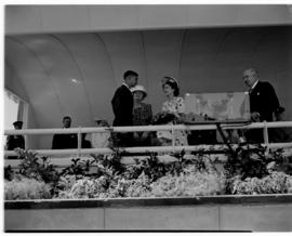 East London, 3 March 1947. Presentation of bouquet by J. de Kock, the youngest apprentice on the ...