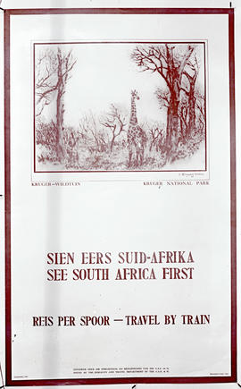 """1932. Cover of tourist brochure 'See South Africa First'."""