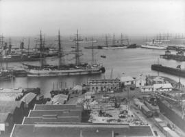 Cape Town. Table Bay Harbour with many sailing vessels.