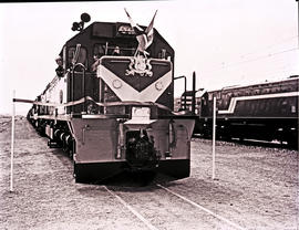 Swaziland, 1976. SAR Class 34-600 No 34-676 with banner and flags at the opening of the Swaziland...