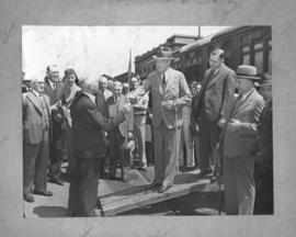 Presentation of staff to Sir Patrick Duncan at railway workshops.