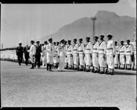 Cape Town, 17 February 1947. King George VI inspecting naval parade at Duncan Dock.