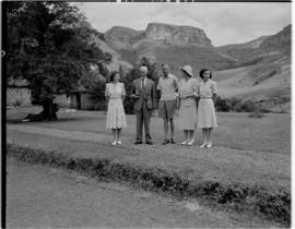 Royal Natal National Park, Drakensberg, 14 to 16 March 1947. Royal family with Prime Minister JC ...
