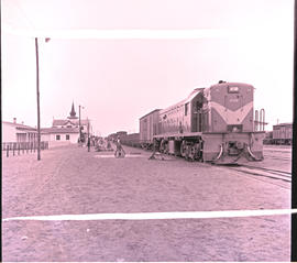 Swakopmund, South-West Africa, 1961. SAR Class 32-000 No 32-046 with mixed train at railway station