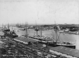 East London. View of Buffalo Harbour, goods sheds and railway lines.