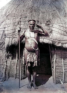 """Natal. Chief Teteleko of the Zulus saluting with left hand."""