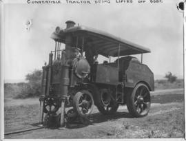 Naboomspruit - Singlewood roadrail line, circa 1924. Convertible tractor lifted off bogie. (Album...