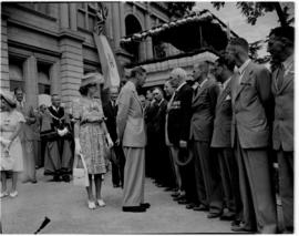 Umtata, 5 March 1947. King George VI and Princess Elizabeth greeting ex-servicemen outside the to...