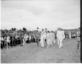 Swaziland, 25 March 1947. Paramount Chief and Royal family inspect guard of honour.