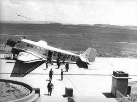 Johannesburg. Rand airport. SAA Junkers JU-52 ZS-AFD 'Sir Benjamin D'Urban'. Note unfinished airm...
