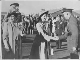 Salisbury, Southern Rhodesia, 7 April 1947. Princess Elizabeth greeted at airport.
