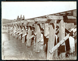 Natal. Trolley on wooden bridge constructed with timbers marked 'SAR' with sugar can fields on fa...
